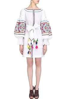 White Embroidered Cotton Dress by Mynah Designs By Reynu Tandon