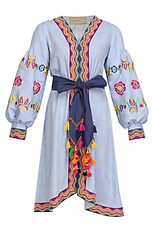 Light Blue Embroidered Cotton Dress by Mynah Designs By Reynu Tandon