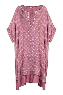 Dusty pink embroidered boxy tunic by Myoho