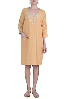 Ochre yellow embroidered boxy dress by Myoho