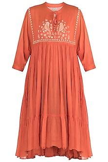 Carrot embroidered yoke dress by Myoho