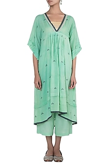 Mint green embroidered kaftan with inner slip by Myoho