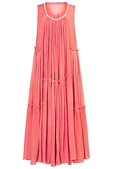 Carrot embroidered printed maxi dress by Myoho