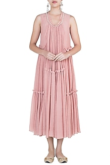Rose pink embroidered multi tier dress by Myoho