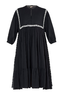 Black embroidered tier dress by Myoho