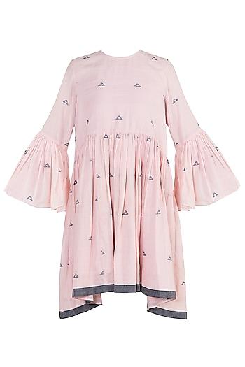 Rose pink embroidered jamdani yoke tunic by Myoho