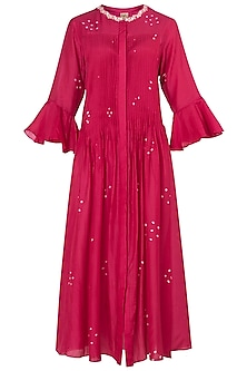 Pink Bandhani Embroidered Tunic by Myoho