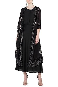 Black Layered Embroidered Flap Jacket by Myoho