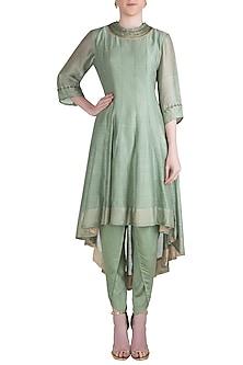 Jade Green Embroidered Asymmetrical Kurta with Dhoti Pants by Myoho