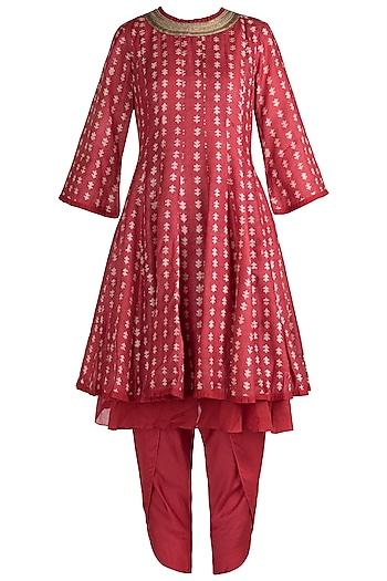 Red Hand Block Printed Kurta with Dhoti Pants by Myoho