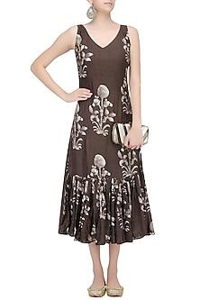 Coffee Batik Printed Tiered Dress by Myoho