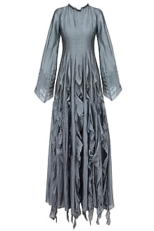 Grey Long Panelled Dress with Bell Sleeves by Myoho