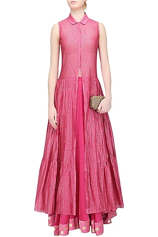 Pink Khadi Printed Tiered Kurta and Skirt Set by Myoho