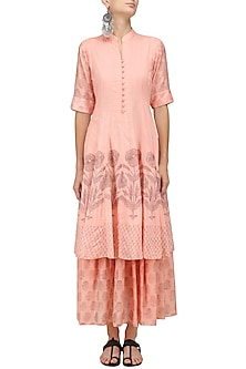 Baby Pink Double Layer Mughal Dress by Myoho