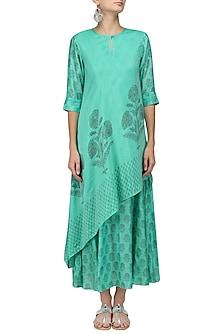 Mint Floral Print Double Layer Slant Mughal Dress by Myoho