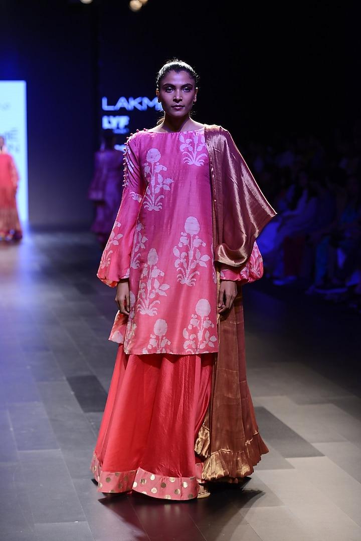 Pink Floral Motifs Lantern Sleeves Dress by Myoho