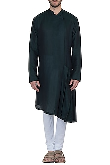 Bottle green pleated kurta with pants by Mayank Modi