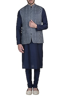Grey and black printed nehru jacket by Mayank Modi