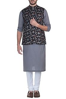 Brown printed nehru jacket by Mayank Modi