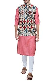 Beige digital printed nehru jacket by Mayank Modi