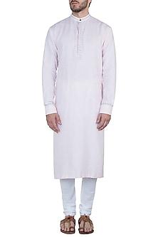 Pastel pink embroidered kurta with pants by Mayank Modi