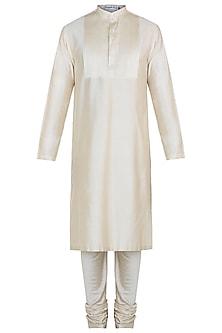 Beige kurta with pants by Mayank Modi