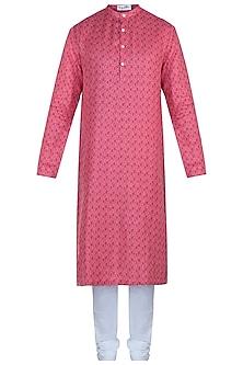 Pink printed kurta with pants by Mayank Modi