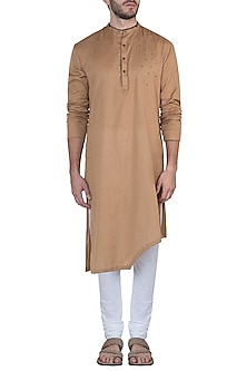 Brown embroidered kurta with pants by Mayank Modi