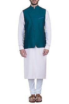 Bottle green nehru jacket by Mayank Modi