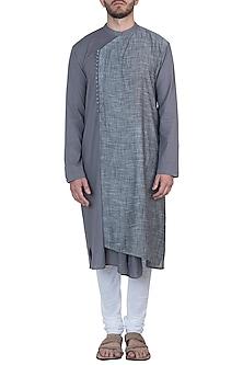 Grey overlap kurta with pants by Mayank Modi