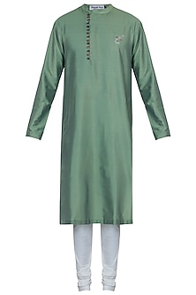 Green kurta with pants by Mayank Modi