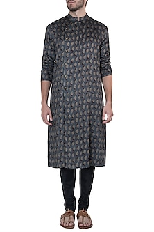 Grey printed kurta with pants by Mayank Modi