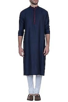 Blue jacquard kurta with pants by Mayank Modi