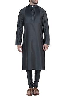 Charcoal grey kurta with pants by Mayank Modi
