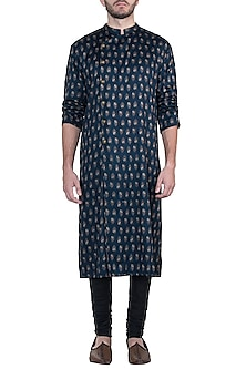 Blue printed kurta with pants by Mayank Modi