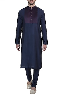 Navy blue pintuck kurta with pants by Mayank Modi