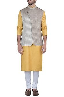 Beige overlap nehru jacket by Mayank Modi