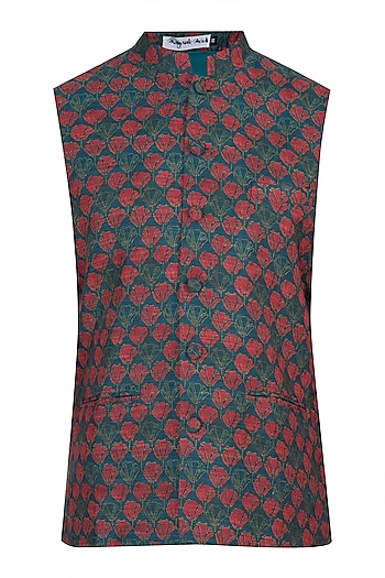 Red digital printed nehru jacket by Mayank Modi