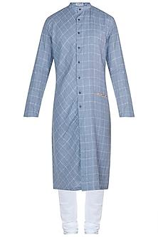 Blue checkered kurta with pants by Mayank Modi
