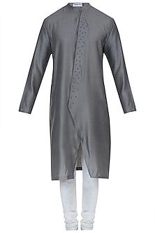 Grey embroidered kurta with pyjama pants by Mayank Modi