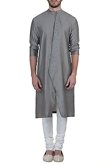 Grey embroidered kurta with pyjama pants by Mayank Modi