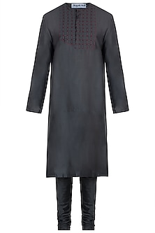 Charcoal grey embroidered kurta with pyjama pants by Mayank Modi