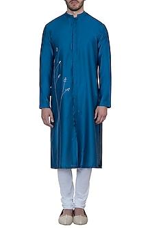 Royal blue embroidered kurta with pants by Mayank Modi