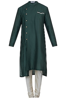 Bottle green kurta with pyjama pants by Mayank Modi