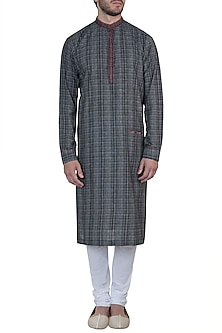 Black printed kurta with pyjama pants by Mayank Modi