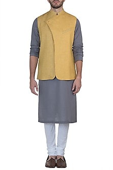 Yellow geometric print nehru jacket by Mayank Modi