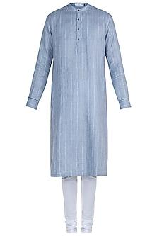 Blue Pinstripe Kurta Set by Mayank Modi