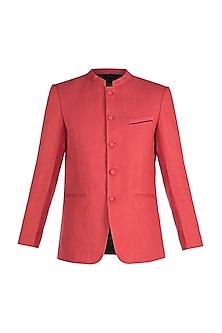 Tomato Red Jacquard Bandhgala Jacket by Mayank Modi