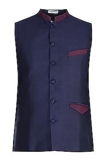 Blue Jacquard Nehru Jacket by Mayank Modi