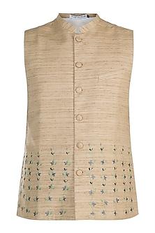 Brown Hand Embroidered Nehru Jacket by Mayank Modi